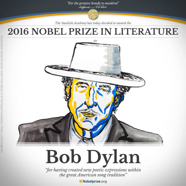Bob Dylan Awarded The 2016 Nobel Prize In Literature