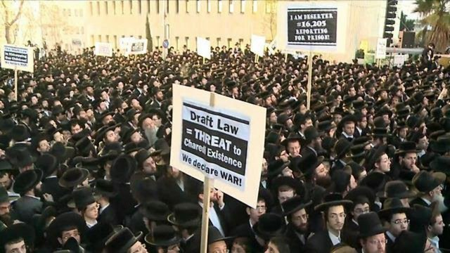 Orthodox Jews Protest Israel's Military Draft Law