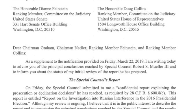 Attorney General  William P. Barr &  Justice Department's Summary of Mueller Report