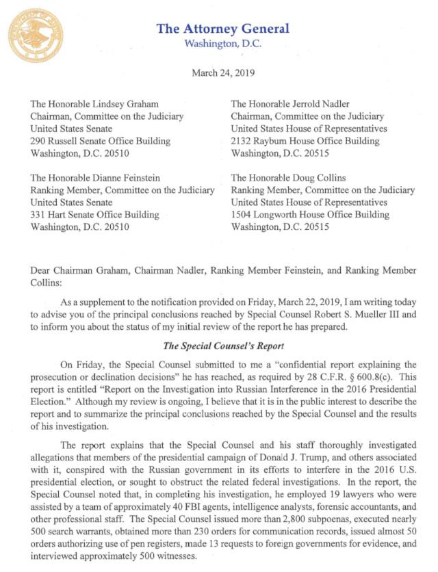 Attorney General  William P. Barr &  Justice Department's Summary of Mueller Report